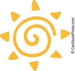 zon, vrijstaand, achtergrond., vector, witte , pictogram