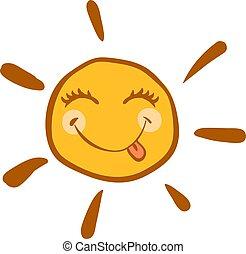 zon, vrolijke , witte , achtergrond., vector, illustratie