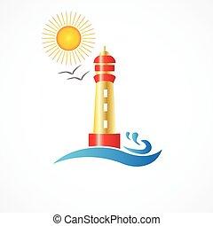 zon, vuurtoren, strand, logo