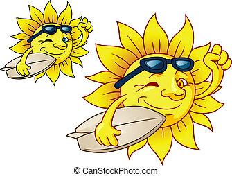 zon, warme, surfing, zonnebrillen