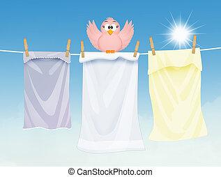 zon, wasserij, vogel, het liggen