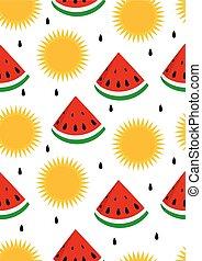 zon, watermeloen, seamless, achtergrond
