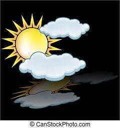 zon, wolk, pictogram