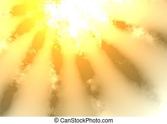 zon, wolken, door, het glanzen