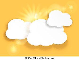 zon, wolken, gele, sky.