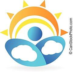 zon, wolken, logo
