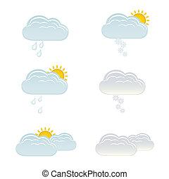 zon, wolken, sneeuw, regen