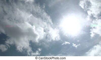 zon, wrakkigheid, wolken, in tijd