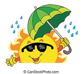 zon, zich het verschuilen, paraplu, groot