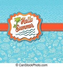 zon, zomer, etiket, zee, template., ontwerp, leven, gekke , golf