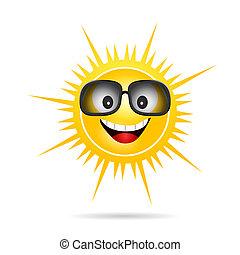 zon, zonnebrillen, illustratie, vrolijke