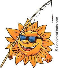 zon, zonnebrillen, sportvissen, spotprent