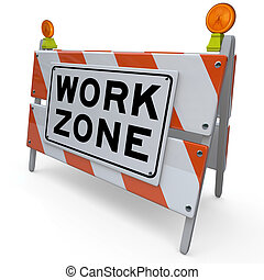 zona, área, trabajo, señal, construcción, barricada, cerrado