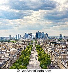 zona, affari, avenue., la, parigi, francia, difesa, grande,...