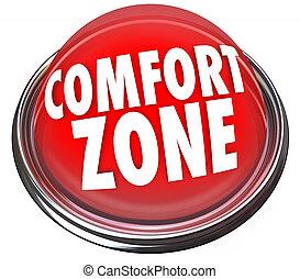 zona, botão, conforto, segurança, palavras, segurança