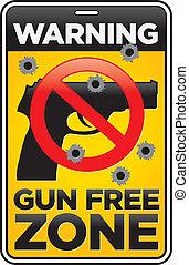 zona, buracos bala, arma, livre, sinal