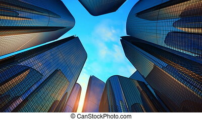 zona comercial, con, rascacielos