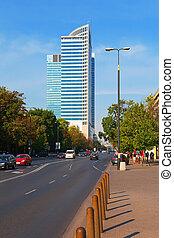 zona comercial, en, varsovia, polonia