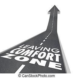 zona, conforto, experiência, partindo, aumento, palavras, novo, crescer, estrada