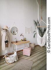 zona, esotico, stile, angolo, confortevole, rilassante, vivente, moderno, albero, scandinavo, amaca, palma, interno, camera letto, interno, casa, bianco, home., design.