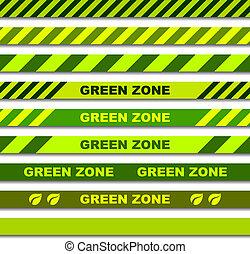 zona, fitas, seamless, vetorial, verde, cautela