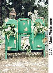zona, foto, cajones, pecho, verde, wedding., beautifully, adornado, flores, blanco