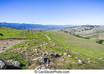 zona, francisco, colline, hiking traccia, jose, teresa, baia, parco contea, fondo, california, santa, almaden, valle, sud, san