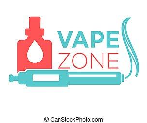 zona, logotipo, vape, isolato, inizio, white., vaping,...