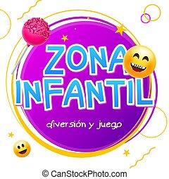 zona, niños, zona, niño, infantil., señal, juego, vector, diseño, patio de recreo, plano de fondo, español, bandera