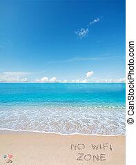 zona, no, wifi, tropicale, scritto, spiaggia
