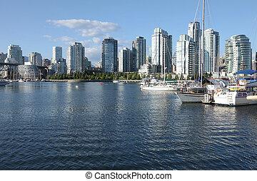 zona portuale, sud, insenatura, sailboats., bc, baia, vancouver, lato, &, falso