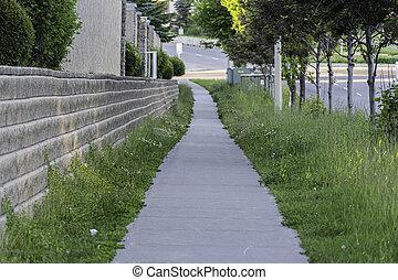 zona, residenziale, passerella, accanto, parete, trattenendo, sentiero