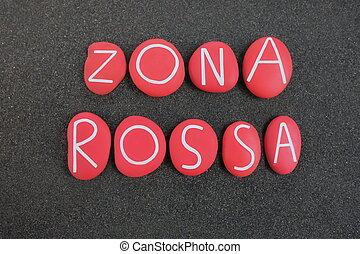 zona roja, zona, encima, 2020, coronavirus, coloreado, compuesto, piedra, cartas, italia, volcánico, lockdown, negro, rossa, arena