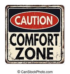 zona, vendimia, comodidad, signo metal, precaución