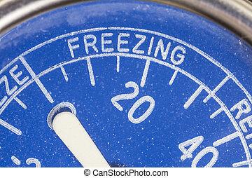 zona, vendimia, congelación, detalle, termómetro, refrigerador
