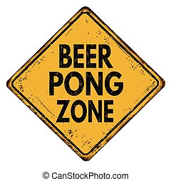 zona, vindima, sinal metal, cerveja, pong