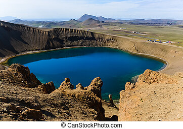 zona, vulcanico, islanda, cratere, viti, krafla