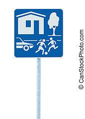 zona, zona, residenziale, isolato, segno, traffico, casa, entrata, strada