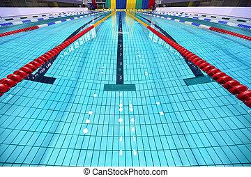 zonas, limitado, pista, piscina, natação
