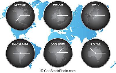 zonas tempo, ao redor mundo