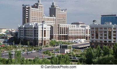 zone affaires, astana., timelapse, toit, capital, nouveau, kazakhstan