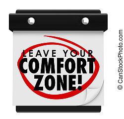 zone, confort, expérience, congé, mots, nouveau, calendrier, ton