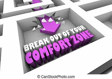 zone, confort, illustration, coupure, flèche, labyrinthe, dehors, ton, 3d