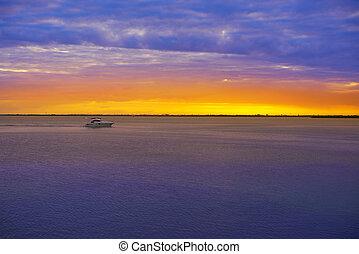 zone, mexique, cancun, hôtel, coucher soleil, lagune