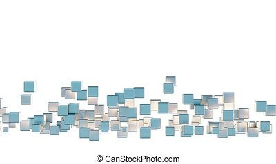 Zone of many light blue and golden flying cubes which gathering together and disappear