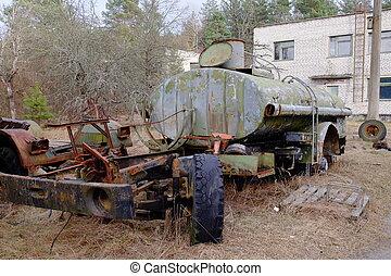 zone., vecchio camion, radiazione, rotto, contaminazione, serbatoio, chernobyl