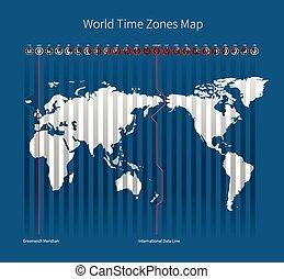 zones, mondiale, temps, carte