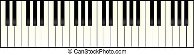 zongora, hosszú, billentyűzet