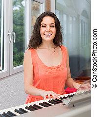 zongora, nő, játék, fiatal, otthon