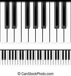 zongora, seamless, vector., keys.
